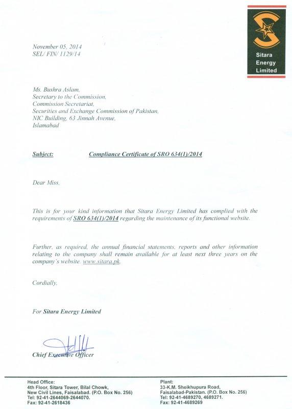 Sitara Energy Ltd Compliance Certificate